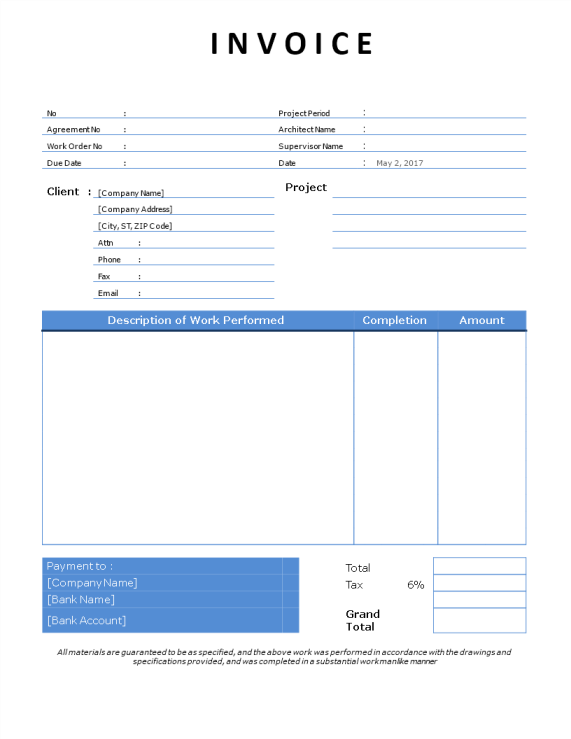 template topic preview image Contractor Invoice example template word