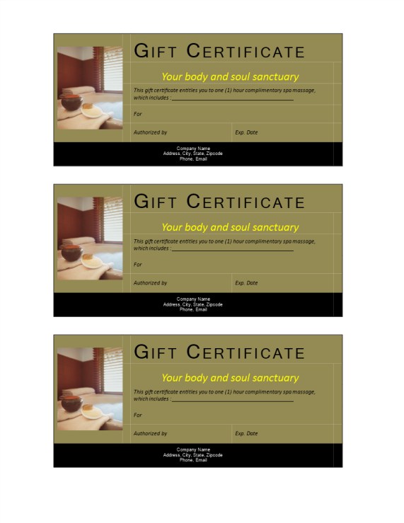 template preview imageSPA gift certificate noncash value