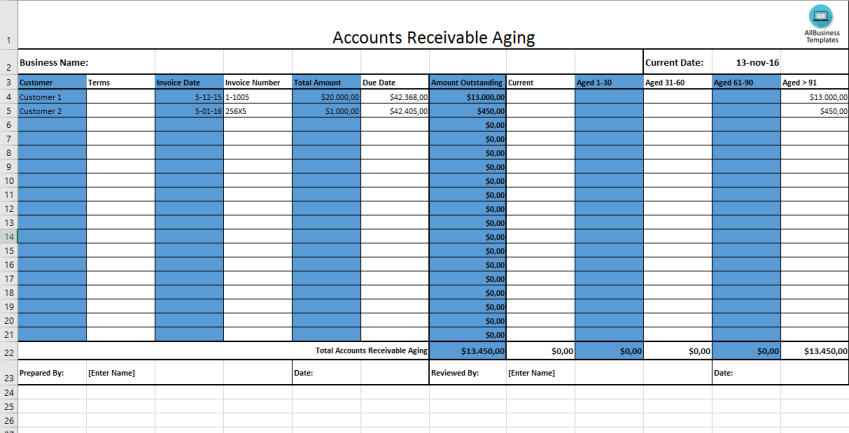 template topic preview image Accounts Receivable Aging