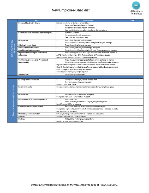 template topic preview image New hire employee checklist on-boarding process