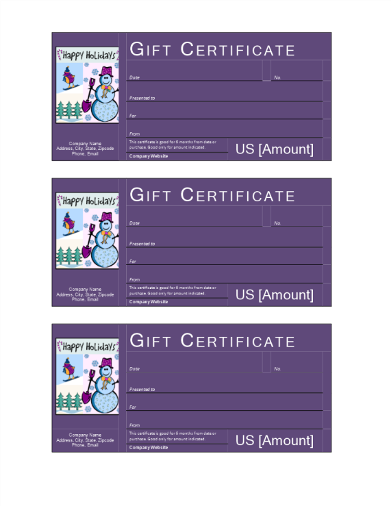 template preview imageWinter Holiday Gift Certificate