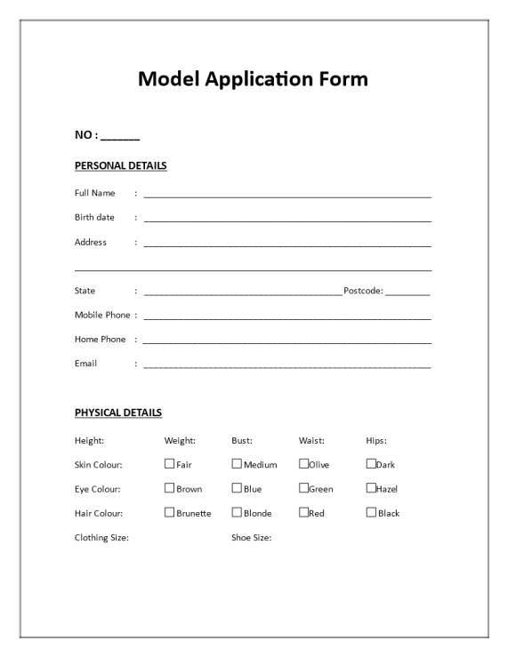 template topic preview image Model Application Form