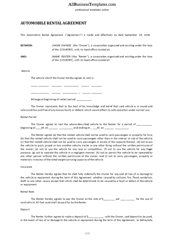 template topic preview image Automobile Rental Agreement