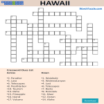 template topic preview image Hawaii Crossword Puzzle