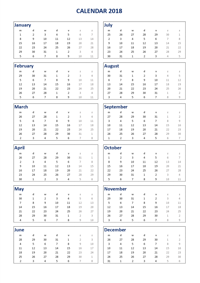 template topic preview image 2018 Calendar Excel A3 portrait