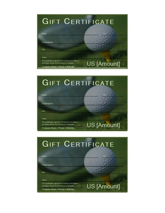 template preview imageGolf Gift Certificate