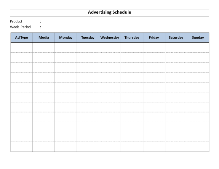 template topic preview image Advertising Schedule Template