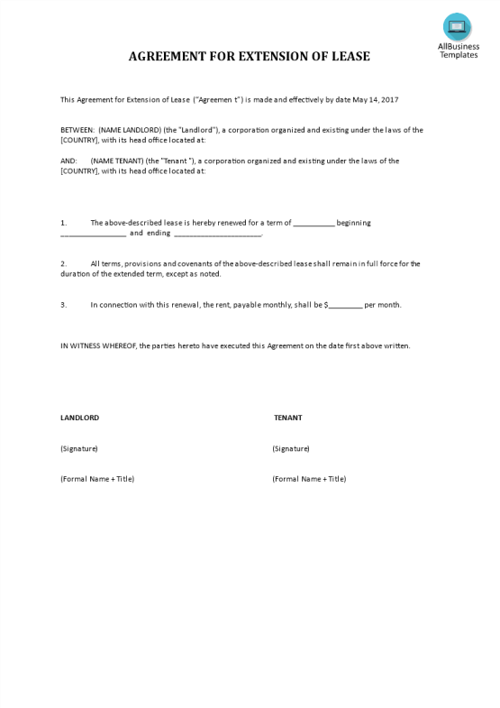 template topic preview image Rent Agreement Template  Extension for Lease