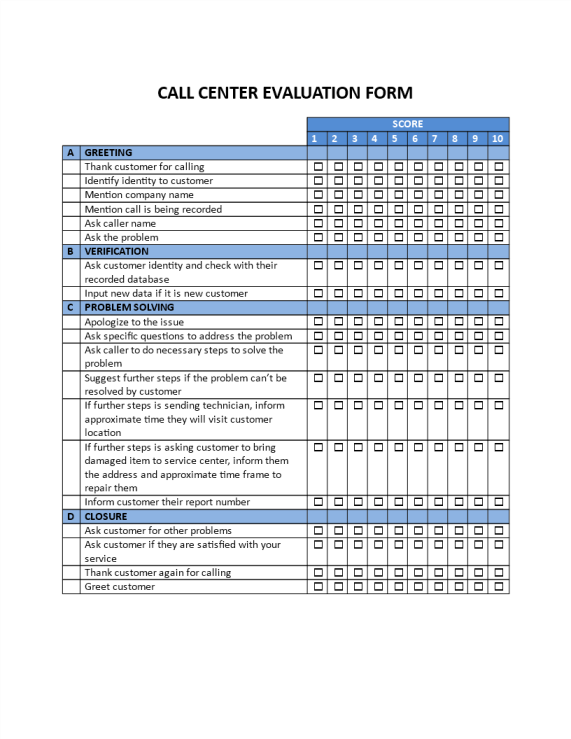 template topic preview image Call Center Evaluation Form