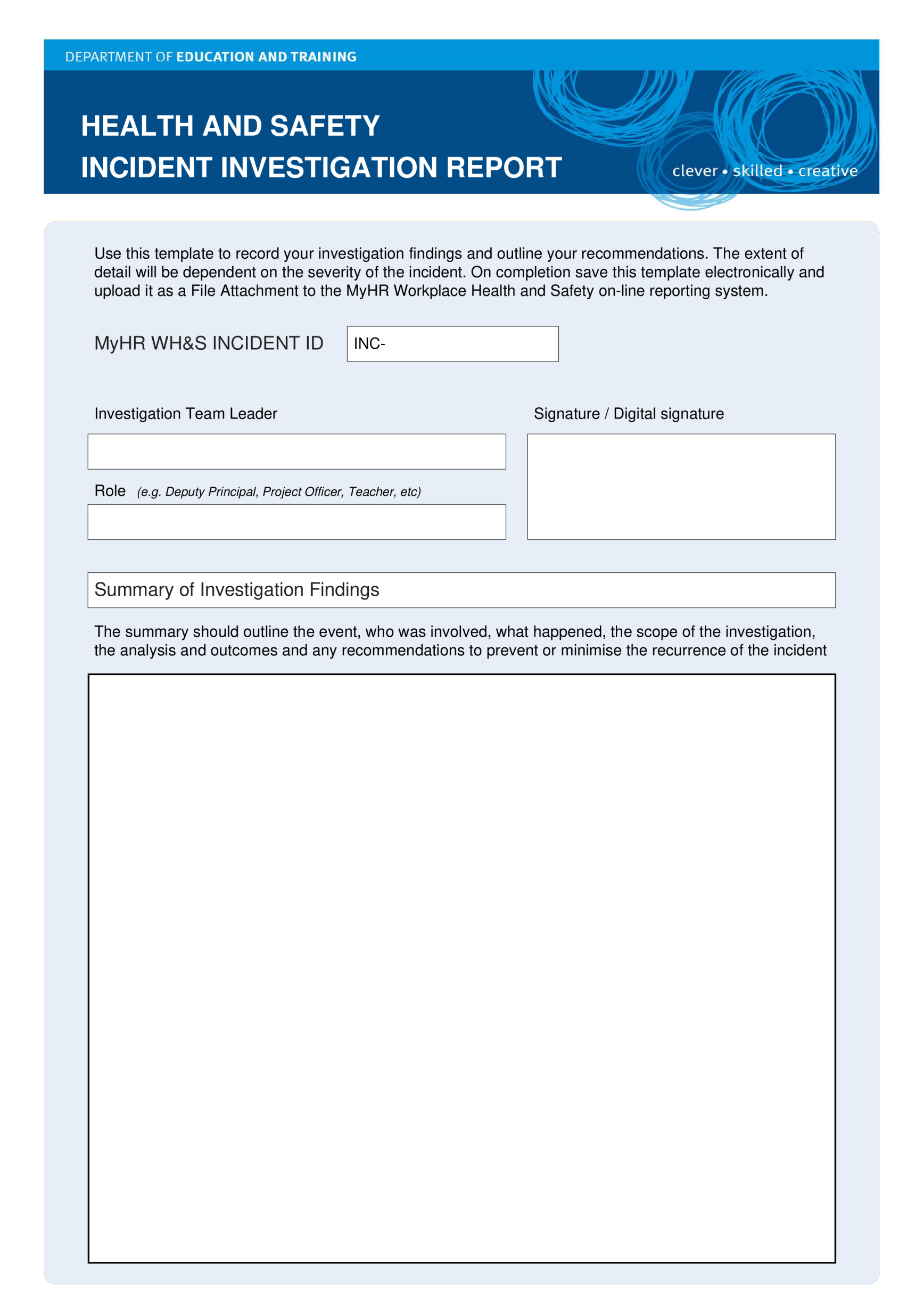 template topic preview image HSE Health Safety Incident Investigation Report