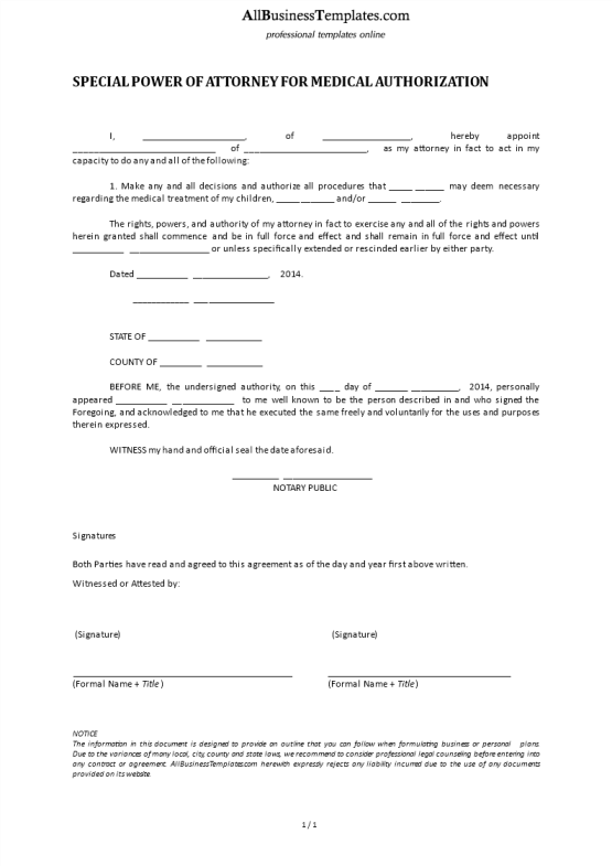 template topic preview image Special Power Of Attorney For Medical Authorization