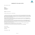 template preview imageSick Leave Letter with immediate effect
