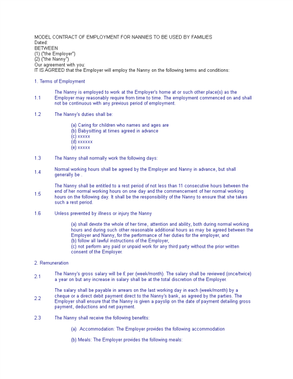 template topic preview image Child care worker agreement template
