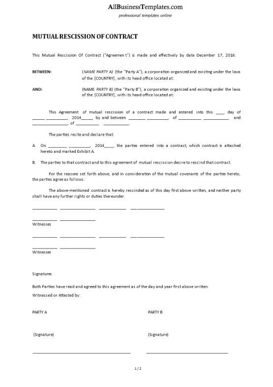 Law templates business templates contracts and forms template topic preview image mutual rescission of contract platinumwayz