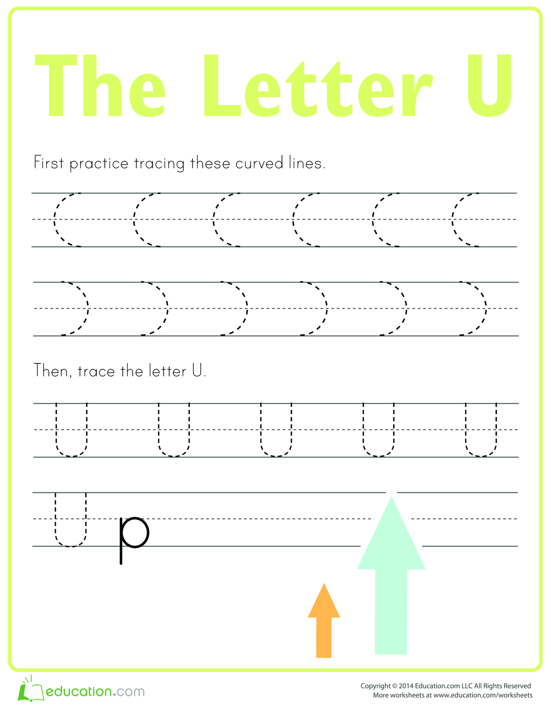 template topic preview image Learn to write letter U