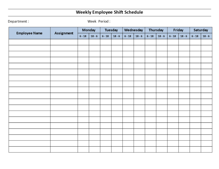template topic preview image Weekly employee 12 hour shift schedule Mon to Sat