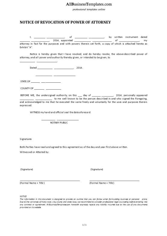 template topic preview image Notice Of Revocation Of Power Of Attorney