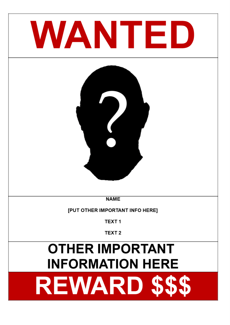 template topic preview image Wanted Poster A3 Size Model