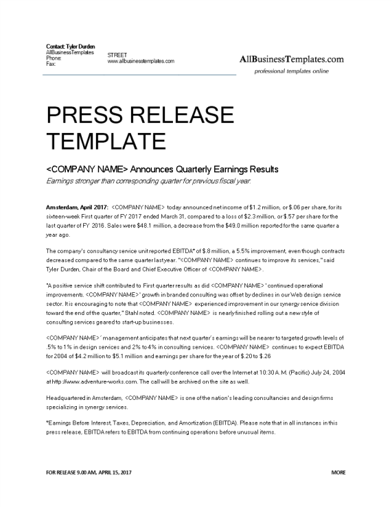 template topic preview image Official press release quarterly earnings