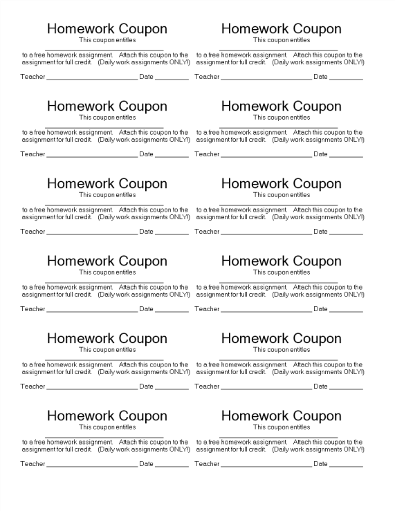template topic preview image Homework Coupon