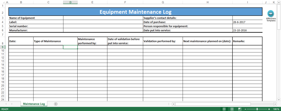 template topic preview image Equipment Maintenance Log template