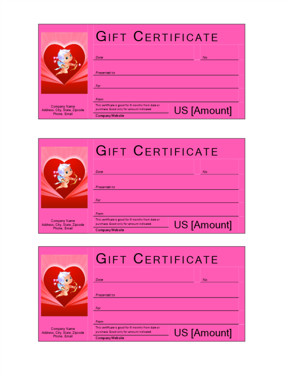 template preview imageValentine Gift Certificate with cash value
