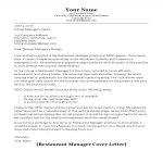 template preview imageRestaurant Manager Cover Letter