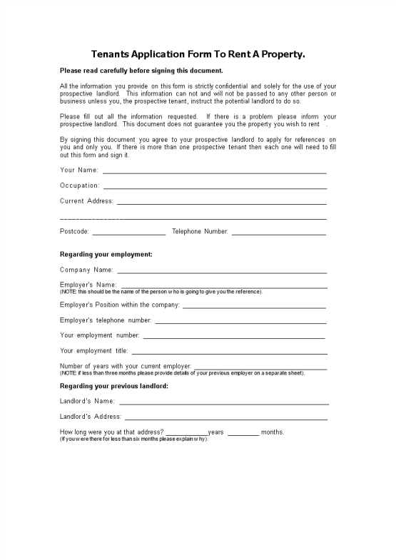 template topic preview image Tenants Application Form To Rent A Property