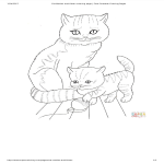 template topic preview image Cat And Kitten Coloring Page