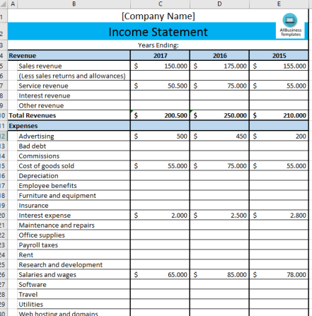 template topic preview image Business Income Statement