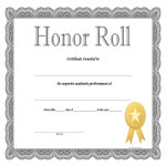 template preview imageHonor Roll certificate template