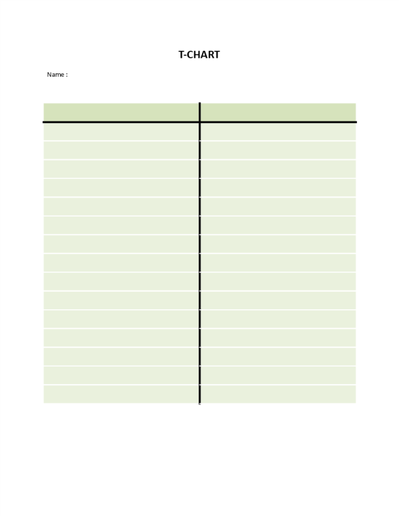 template preview imageSimple T-Chart Model Word