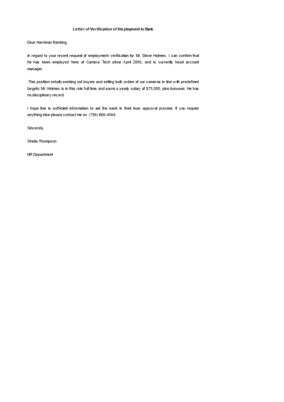 template topic preview image Letter of Employment Template for Bank sample