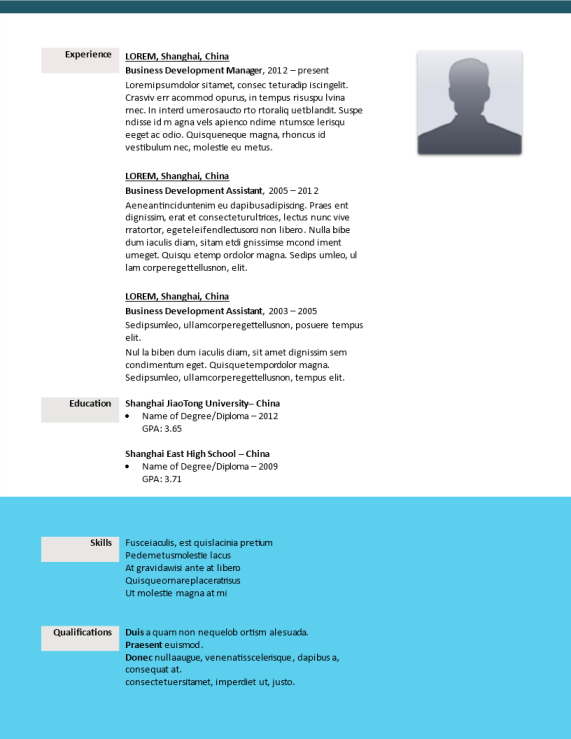 template topic preview image Example of a Creative CV Business Developer