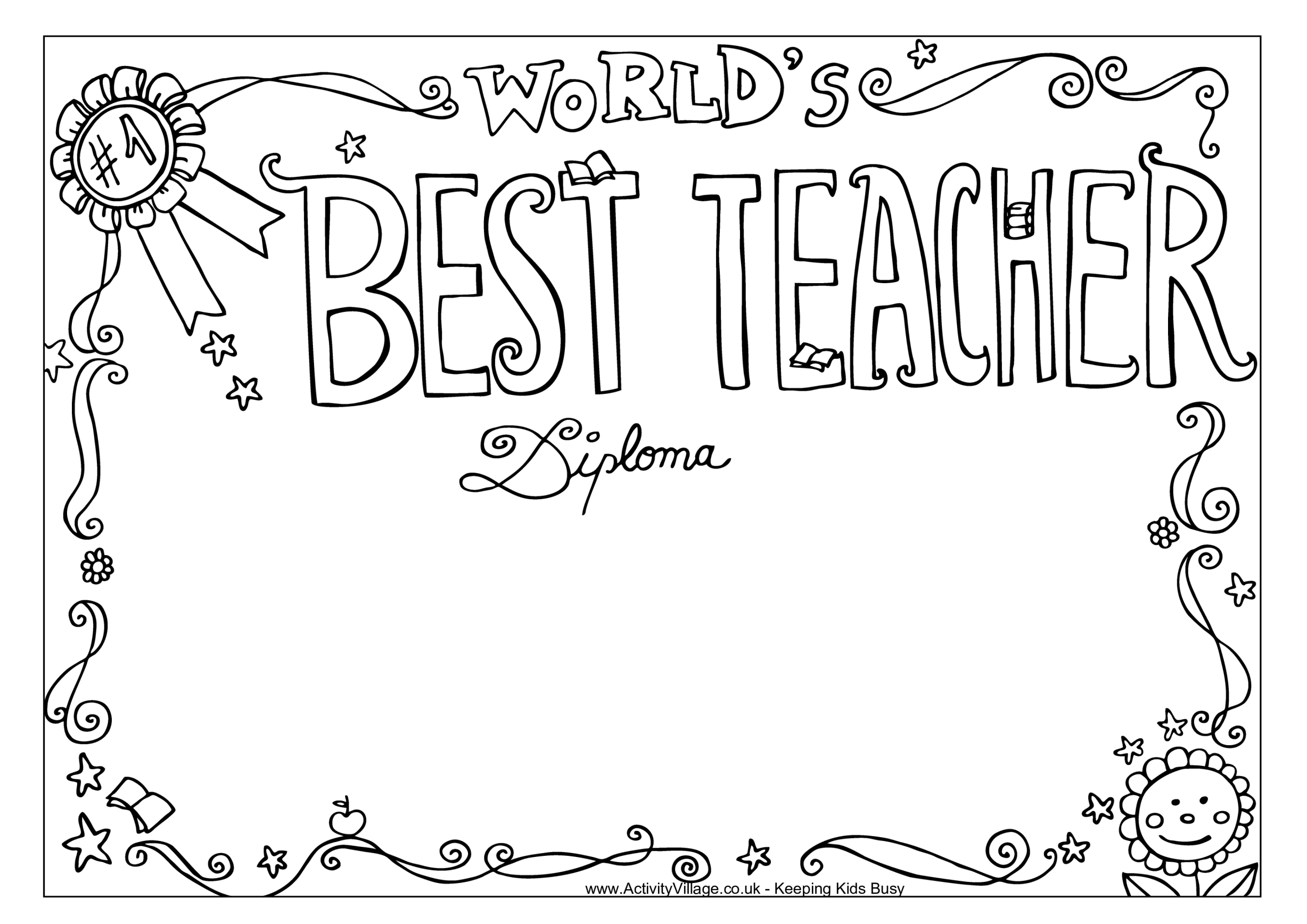 template topic preview image Diploma template: Worlds Best Teacher