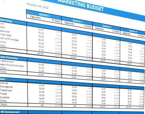 image Marketing Budget Template