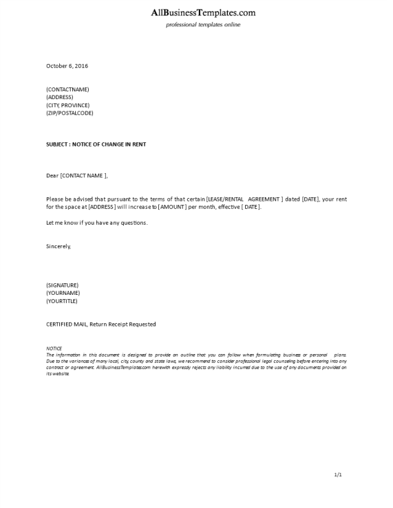template topic preview image Formal Letter Landlord Change in Rent