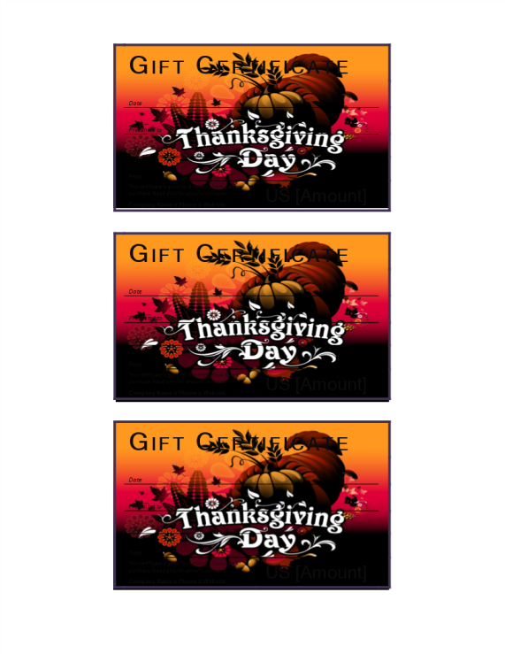 template preview imageThanksgiving gift voucher