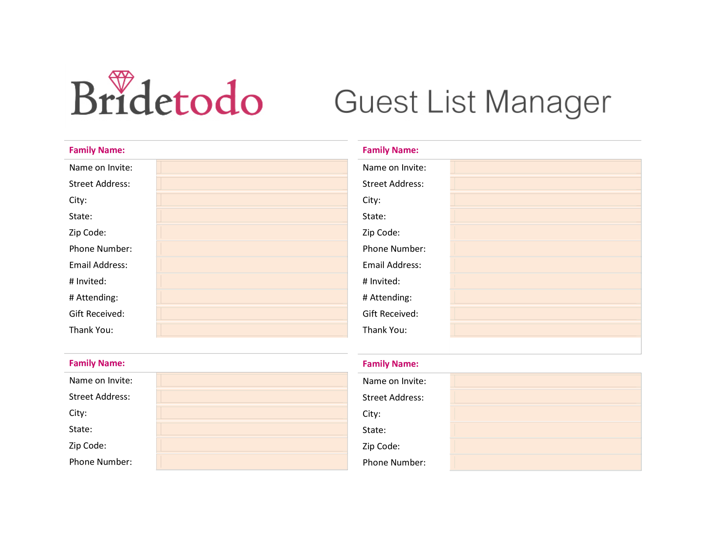 template topic preview image Wedding Guest List