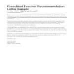 template topic preview image Letter of Recommendation for Preschool Teacher