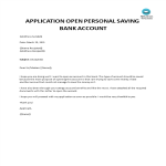 template topic preview image Application to open personal savings account