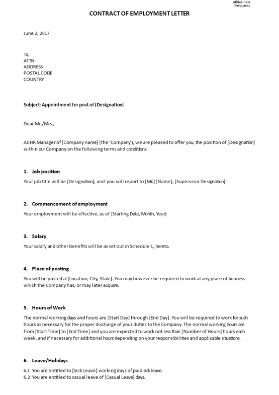 template topic preview image Contract of Employment Appointment Letter