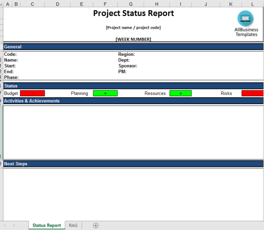 image Project Status Report Excel template