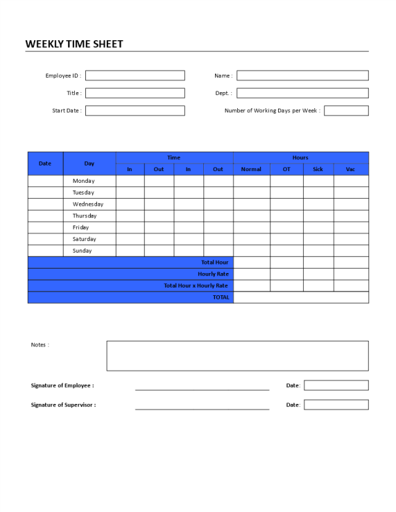 template preview imageWeekly Time Sheet Registration Form