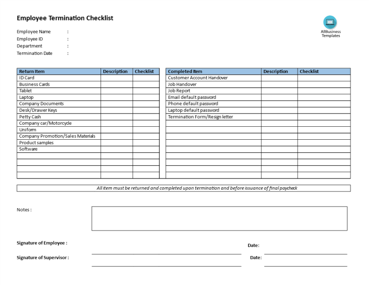 template topic preview image Employee Termination Checklist