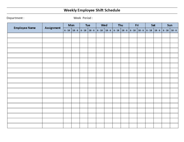 template topic preview image Weekly employee 12 hour shift schedule Mon to Sun