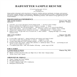 template topic preview image Babysitter Resume Sample