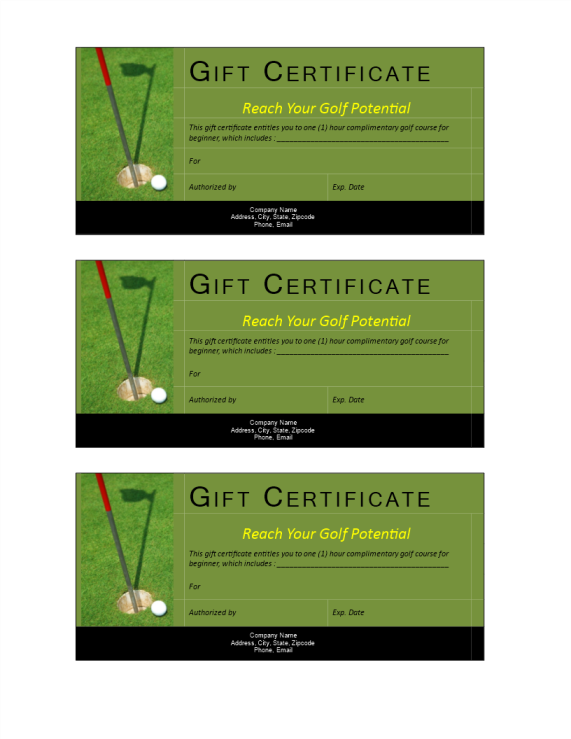 template preview imageGolf Gift Non Cash Value voucher
