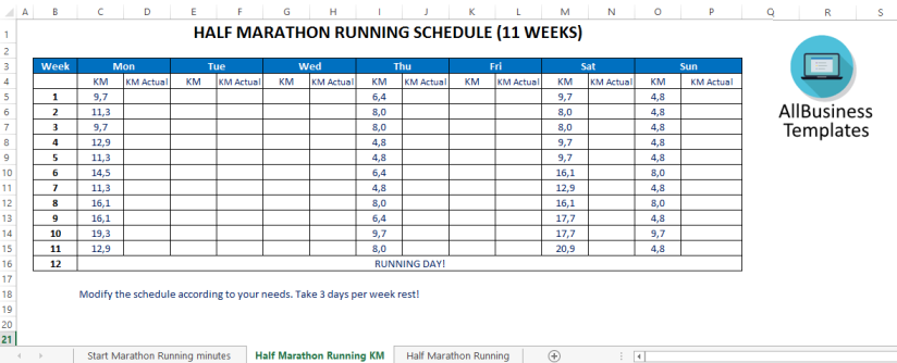 template topic preview image Half marathon training plan (km)