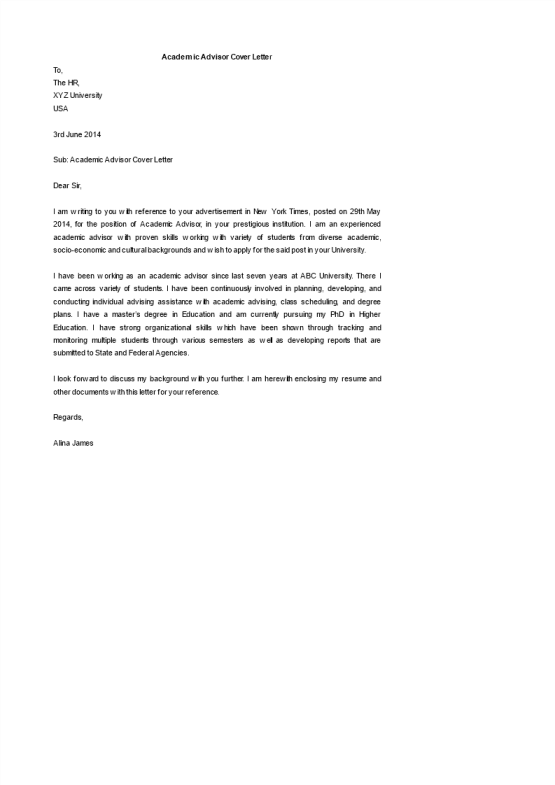 template topic preview image Academic Advisor Coverletter